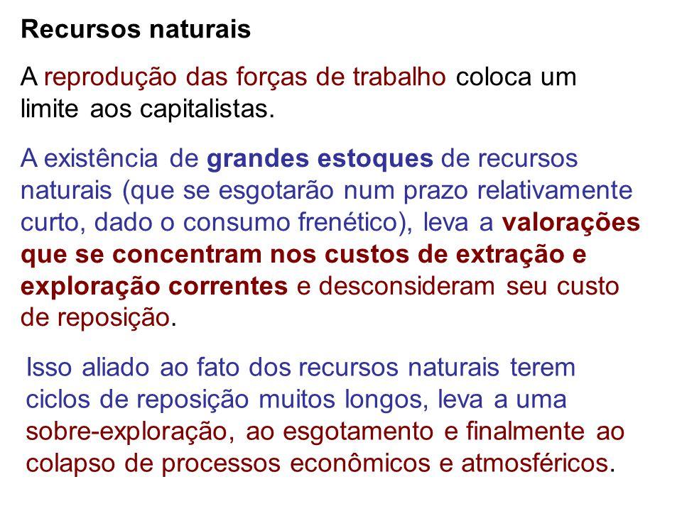 A reprodução das forças de trabalho coloca um limite aos capitalistas. A existência de grandes estoques de recursos naturais (que se esgotarão num pra