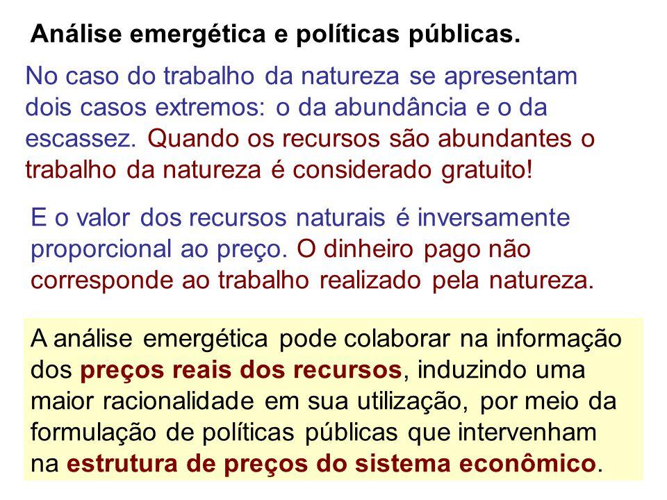 Análise emergética e políticas públicas. A análise emergética pode colaborar na informação dos preços reais dos recursos, induzindo uma maior racional