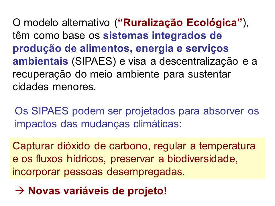 """O modelo alternativo (""""Ruralização Ecológica""""), têm como base os sistemas integrados de produção de alimentos, energia e serviços ambientais (SIPAES)"""