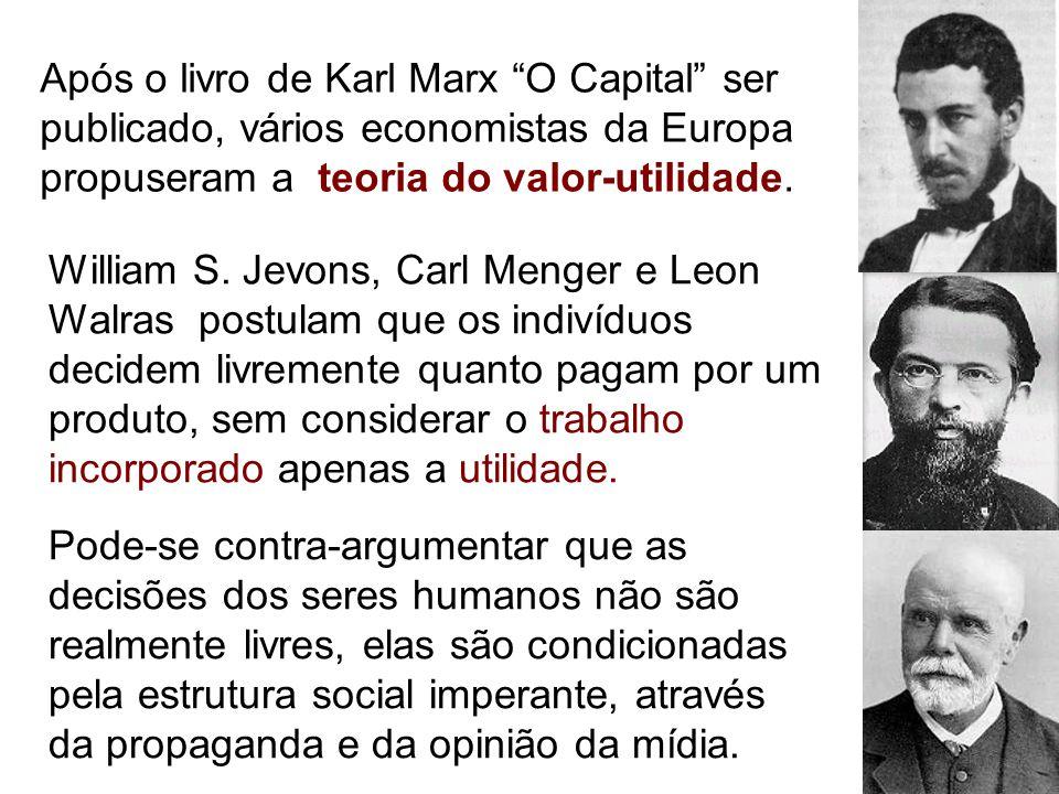 """Após o livro de Karl Marx """"O Capital"""" ser publicado, vários economistas da Europa propuseram a teoria do valor-utilidade. William S. Jevons, Carl Meng"""