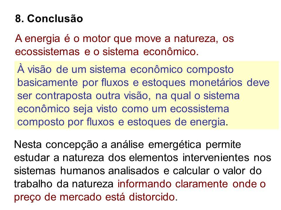 8. Conclusão A energia é o motor que move a natureza, os ecossistemas e o sistema econômico. Nesta concepção a análise emergética permite estudar a na