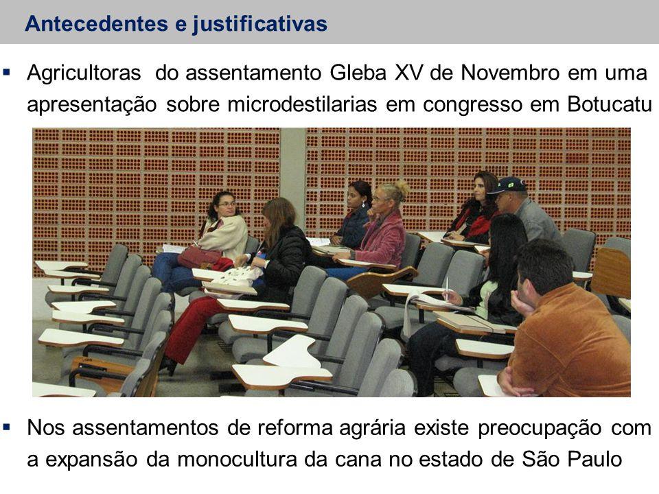 Antecedentes e justificativas  Agricultoras do assentamento Gleba XV de Novembro em uma apresentação sobre microdestilarias em congresso em Botucatu  Nos assentamentos de reforma agrária existe preocupação com a expansão da monocultura da cana no estado de São Paulo