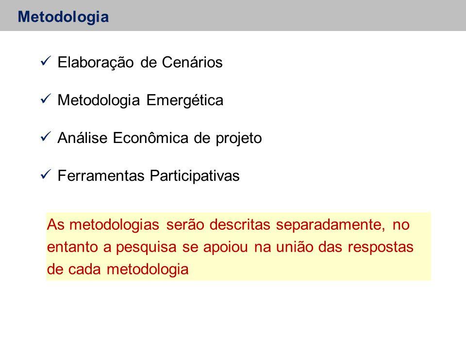 Metodologia Elaboração de Cenários Metodologia Emergética Análise Econômica de projeto Ferramentas Participativas As metodologias serão descritas separadamente, no entanto a pesquisa se apoiou na união das respostas de cada metodologia