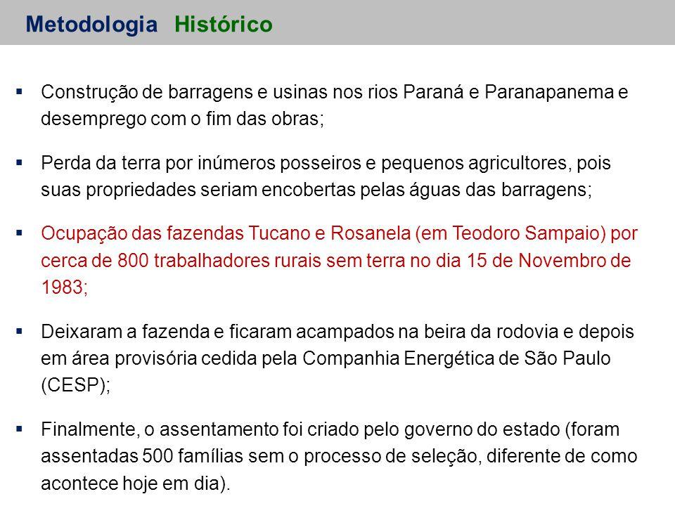 Metodologia  Construção de barragens e usinas nos rios Paraná e Paranapanema e desemprego com o fim das obras;  Perda da terra por inúmeros posseiros e pequenos agricultores, pois suas propriedades seriam encobertas pelas águas das barragens;  Ocupação das fazendas Tucano e Rosanela (em Teodoro Sampaio) por cerca de 800 trabalhadores rurais sem terra no dia 15 de Novembro de 1983;  Deixaram a fazenda e ficaram acampados na beira da rodovia e depois em área provisória cedida pela Companhia Energética de São Paulo (CESP);  Finalmente, o assentamento foi criado pelo governo do estado (foram assentadas 500 famílias sem o processo de seleção, diferente de como acontece hoje em dia).