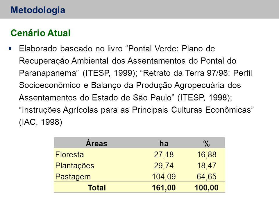 Metodologia Cenário Atual  Elaborado baseado no livro Pontal Verde: Plano de Recuperação Ambiental dos Assentamentos do Pontal do Paranapanema (ITESP, 1999); Retrato da Terra 97/98: Perfil Socioeconômico e Balanço da Produção Agropecuária dos Assentamentos do Estado de São Paulo (ITESP, 1998); Instruções Agrícolas para as Principais Culturas Econômicas (IAC, 1998) Áreasha% Floresta27,1816,88 Plantações29,7418,47 Pastagem104,0964,65 Total161,00100,00