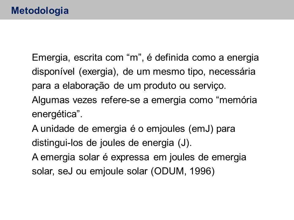 Metodologia Emergia, escrita com m , é definida como a energia disponível (exergia), de um mesmo tipo, necessária para a elaboração de um produto ou serviço.