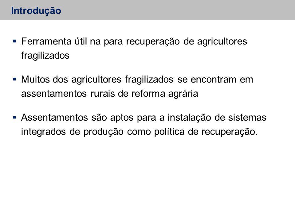 Introdução  Ferramenta útil na para recuperação de agricultores fragilizados  Muitos dos agricultores fragilizados se encontram em assentamentos rurais de reforma agrária  Assentamentos são aptos para a instalação de sistemas integrados de produção como política de recuperação.