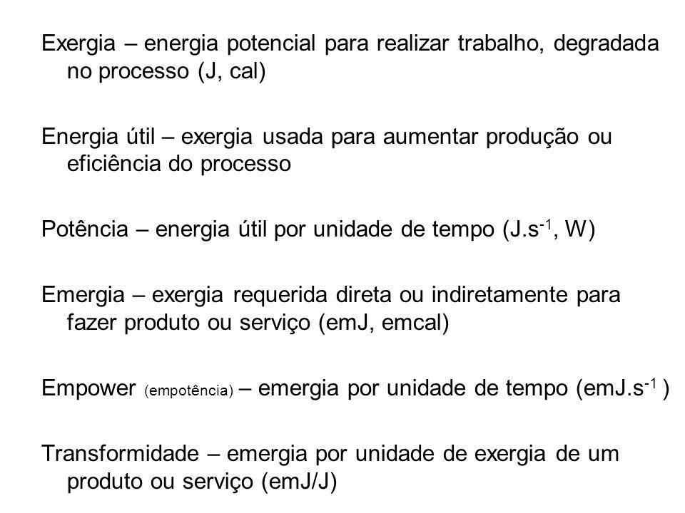 Exergia – energia potencial para realizar trabalho, degradada no processo (J, cal) Energia útil – exergia usada para aumentar produção ou eficiência d