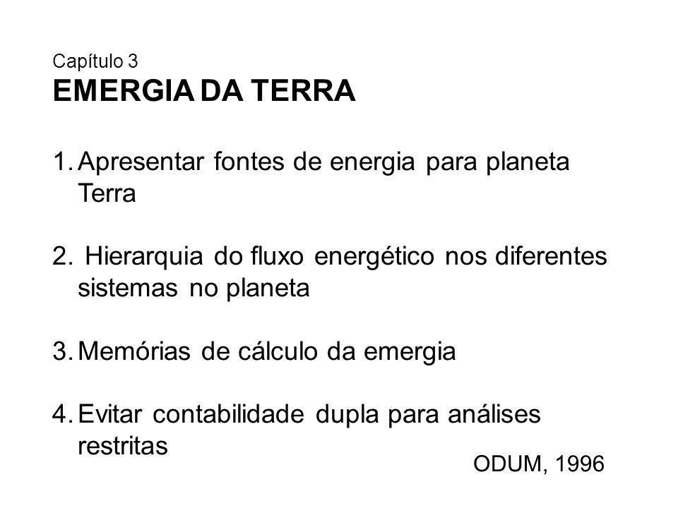 ODUM, 1996 Capítulo 3 EMERGIA DA TERRA 1.Apresentar fontes de energia para planeta Terra 2. Hierarquia do fluxo energético nos diferentes sistemas no