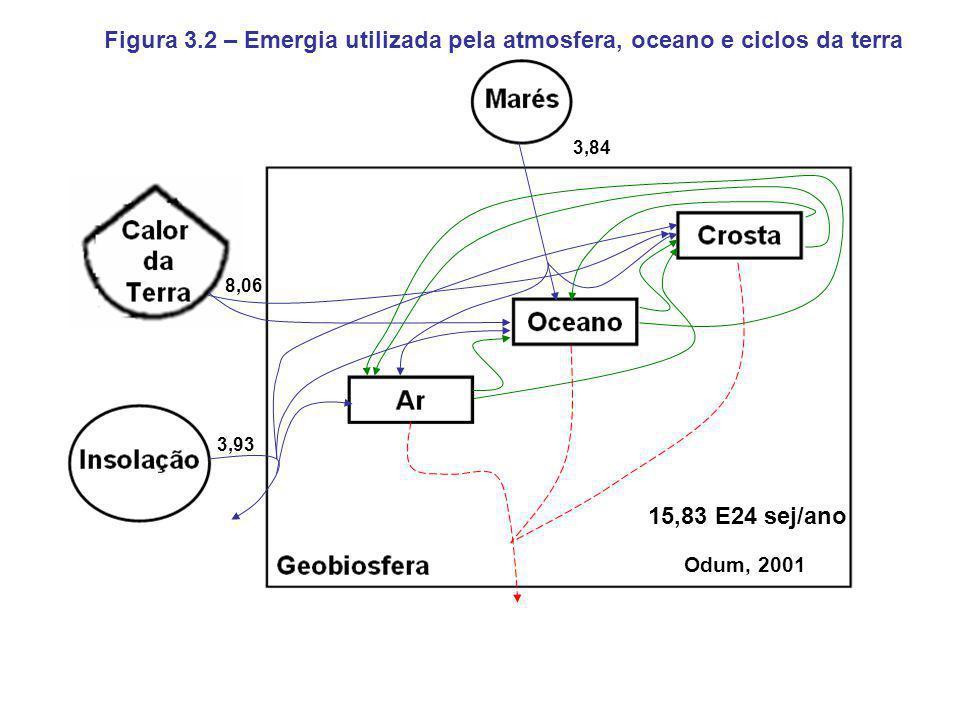 3,93 8,06 3,84 15,83 E24 sej/ano Figura 3.2 – Emergia utilizada pela atmosfera, oceano e ciclos da terra Odum, 2001