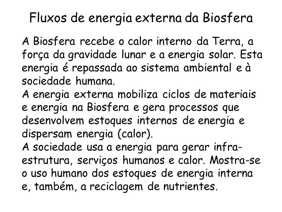 Fluxos de energia externa da Biosfera A Biosfera recebe o calor interno da Terra, a força da gravidade lunar e a energia solar. Esta energia é repassa