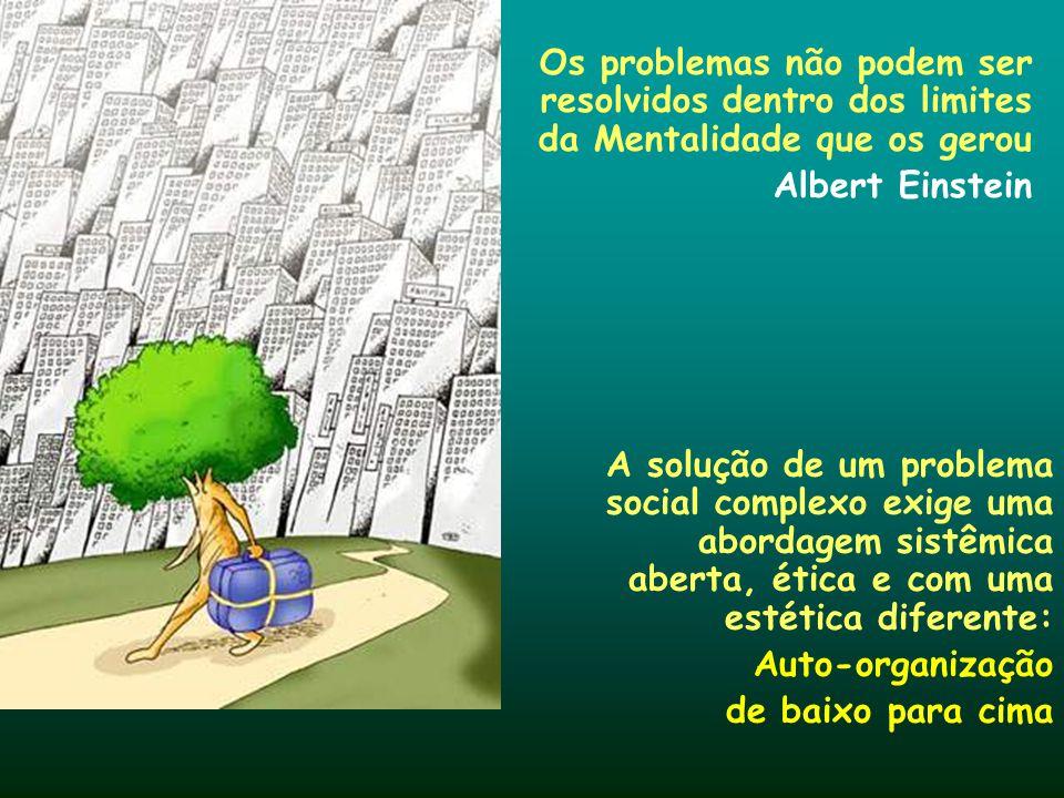 Os problemas não podem ser resolvidos dentro dos limites da Mentalidade que os gerou Albert Einstein A solução de um problema social complexo exige um