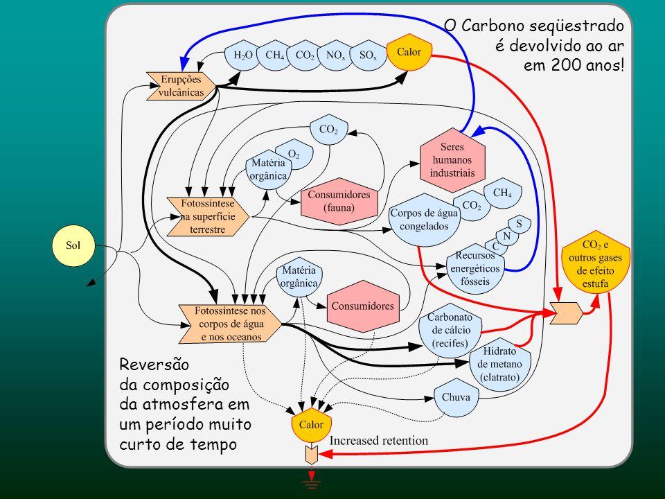 O Carbono seqüestrado é devolvido ao ar em 200 anos! Reversão da composição da atmosfera em um período muito curto de tempo