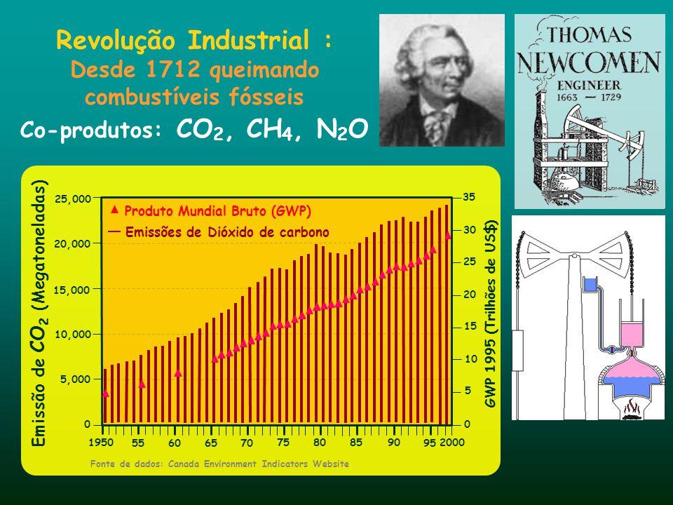Emissão de CO 2 (Megatoneladas) 5,000 1950 0 55606570 75808590 95 35 30 25 20 15 10 5 0 GWP 1995 (Trilhões de US$) Fonte de dados: Canada Environment