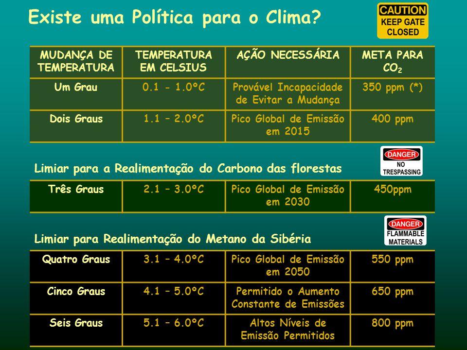Existe uma Política para o Clima? MUDANÇA DE TEMPERATURA TEMPERATURA EM CELSIUS AÇÃO NECESSÁRIAMETA PARA CO 2 Um Grau0.1 - 1.0ºCProvável Incapacidade