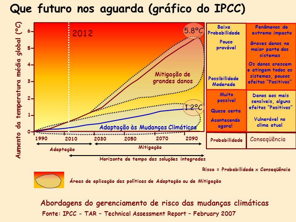 Que futuro nos aguarda (gráfico do IPCC) 1990 2010 20302050 20702090 0 6 5 4 3 2 1 Aumento da temperatura média global (ºC) Mitigação de grandes danos