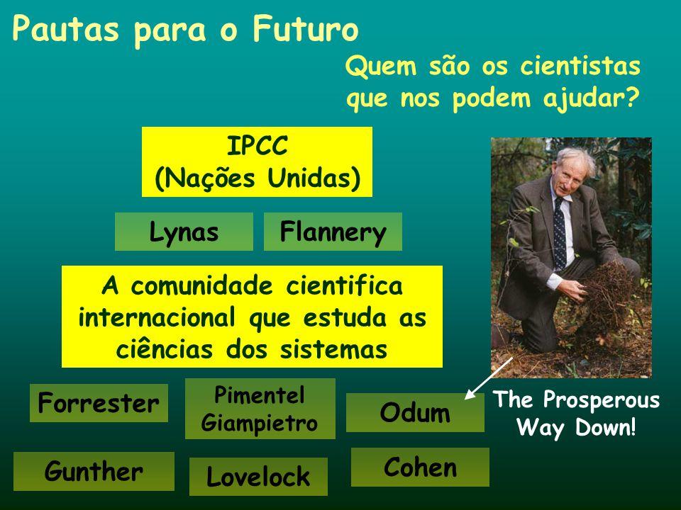 Pautas para o Futuro Quem são os cientistas que nos podem ajudar? Lovelock Forrester Cohen IPCC (Nações Unidas) Gunther A comunidade cientifica intern