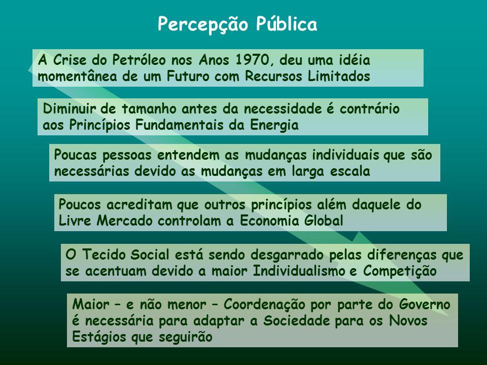 Percepção Pública A Crise do Petróleo nos Anos 1970, deu uma idéia momentânea de um Futuro com Recursos Limitados Diminuir de tamanho antes da necessi
