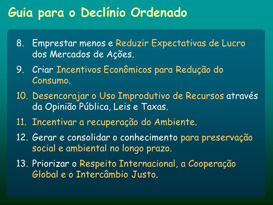 Guia para o Declínio Ordenado 8.Emprestar menos e Reduzir Expectativas de Lucro dos Mercados de Ações. 9.Criar Incentivos Econômicos para Redução do C
