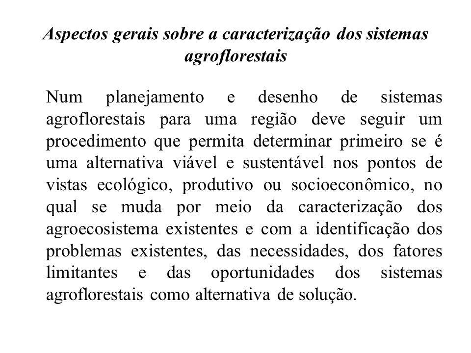 Aspectos gerais sobre a caracterização dos sistemas agroflorestais Num planejamento e desenho de sistemas agroflorestais para uma região deve seguir u