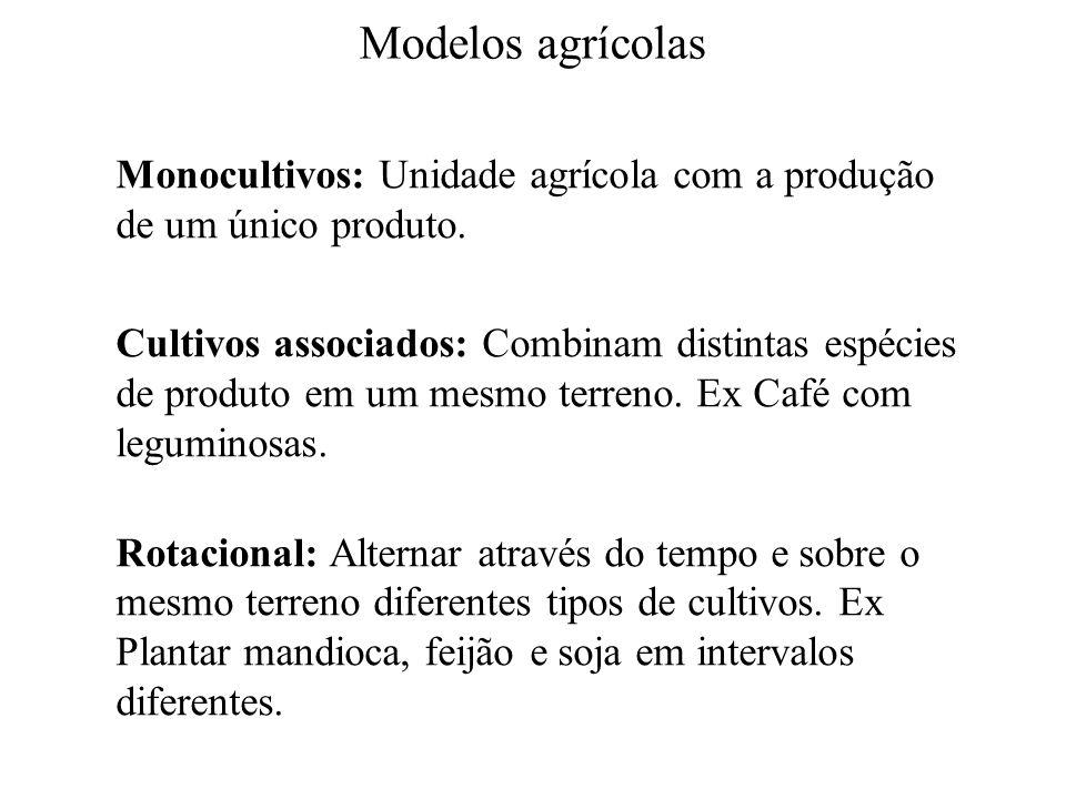 Modelos agrícolas Monocultivos: Unidade agrícola com a produção de um único produto. Cultivos associados: Combinam distintas espécies de produto em um