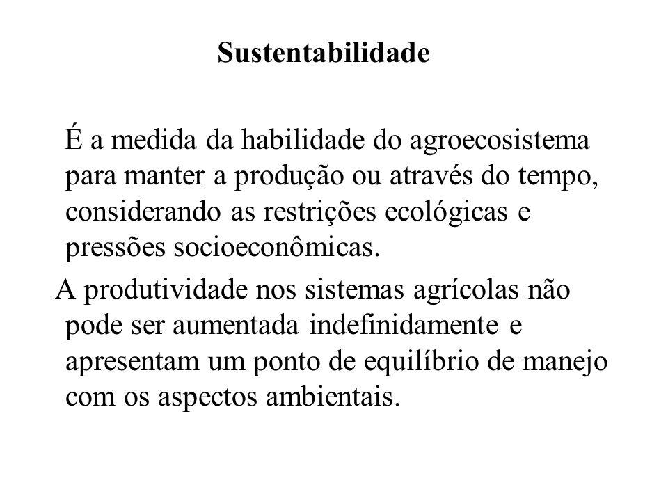 Sustentabilidade É a medida da habilidade do agroecosistema para manter a produção ou através do tempo, considerando as restrições ecológicas e pressõ