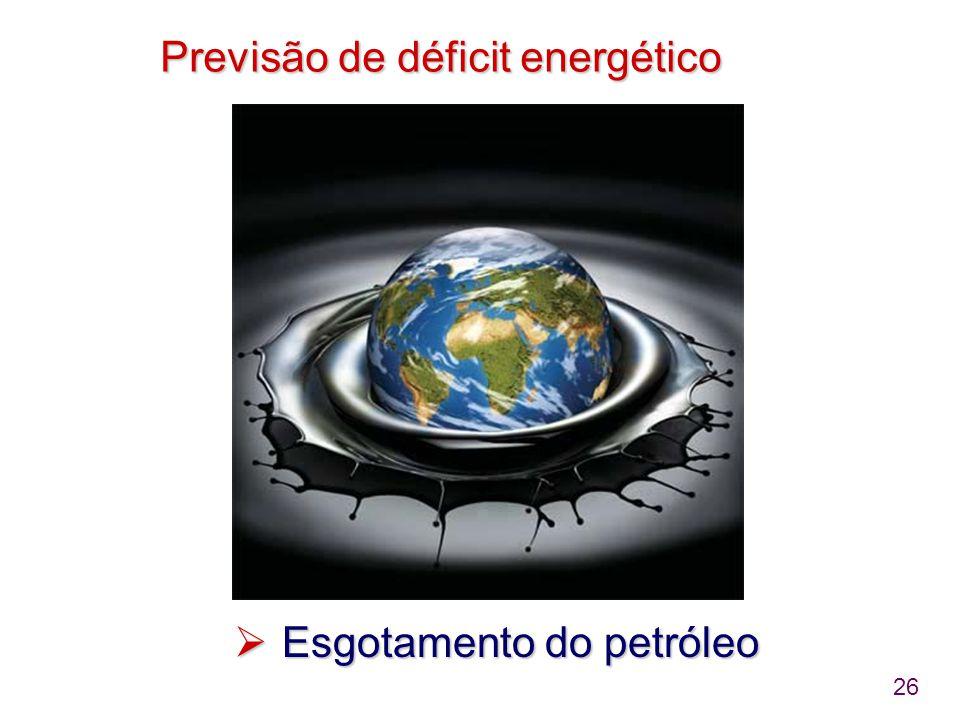 26 Previsão de déficit energético  Esgotamento do petróleo