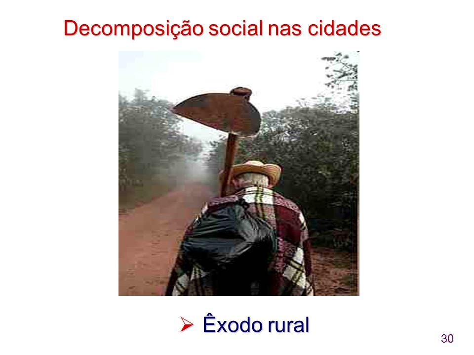 30 Decomposição social nas cidades  Êxodo rural