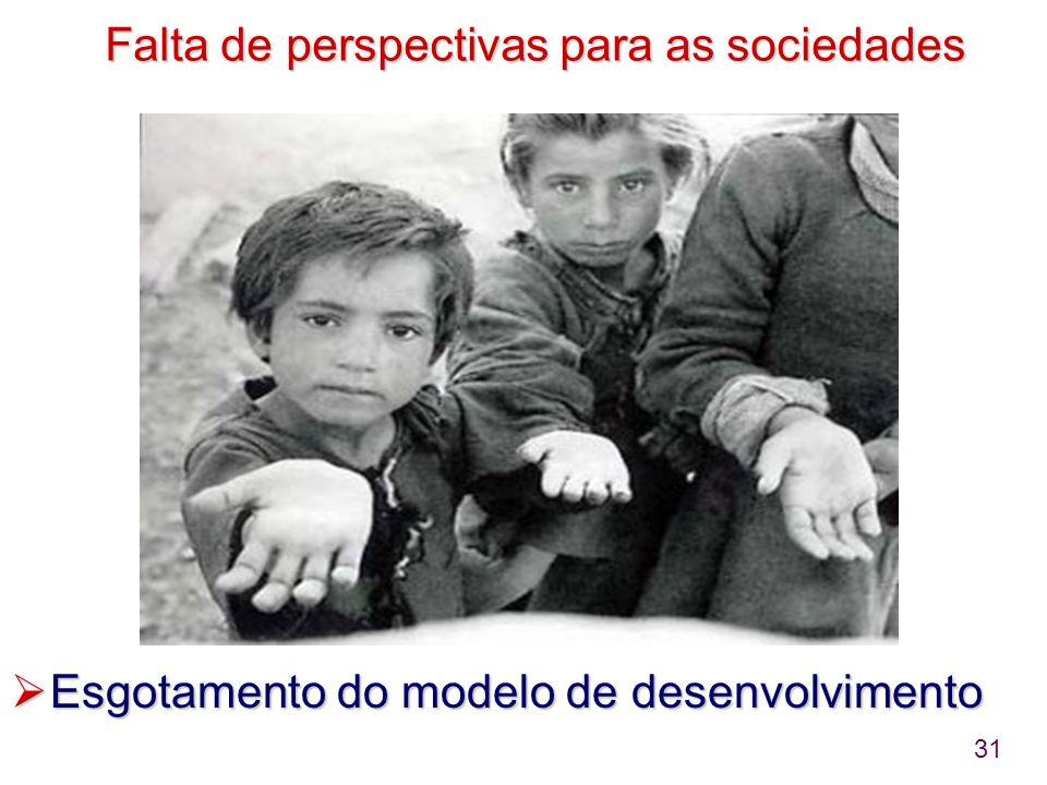 31 Falta de perspectivas para as sociedades  Esgotamento do modelo de desenvolvimento