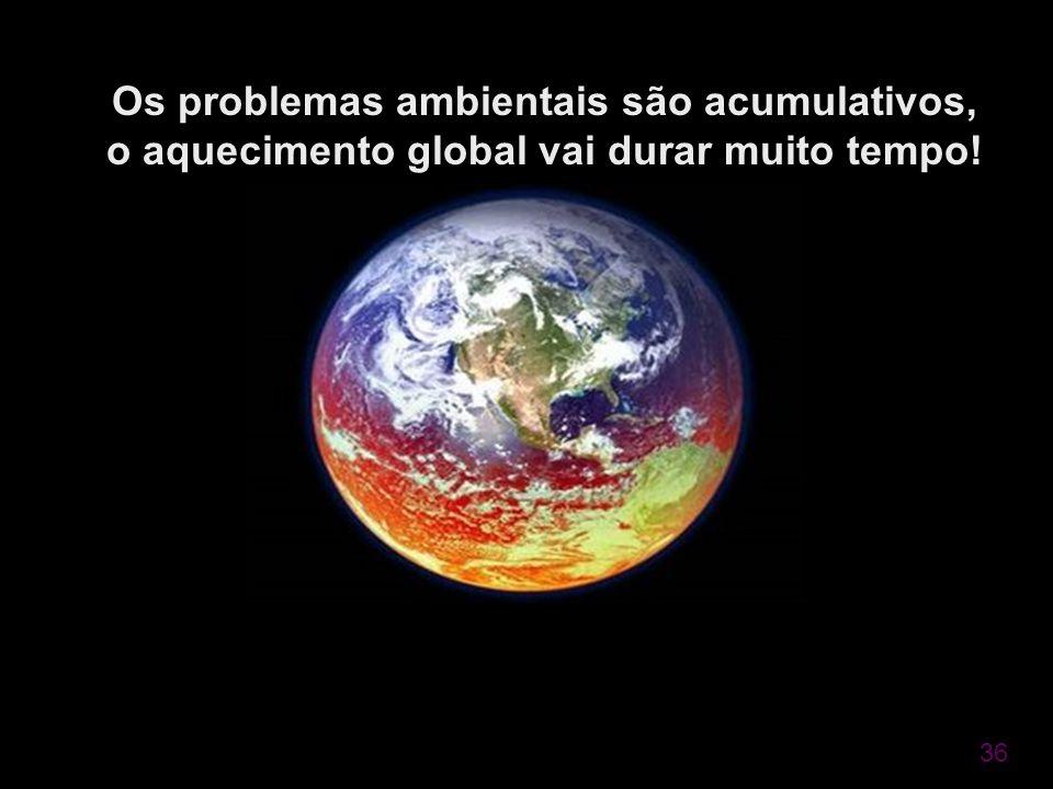 36 Os problemas ambientais são acumulativos, o aquecimento global vai durar muito tempo!
