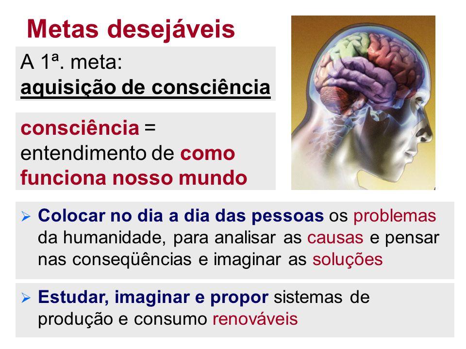 38 Metas desejáveis A 1ª. meta: aquisição de consciência  Colocar no dia a dia das pessoas os problemas da humanidade, para analisar as causas e pens