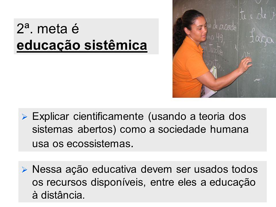 39 2ª. meta é educação sistêmica  Explicar cientificamente (usando a teoria dos sistemas abertos) como a sociedade humana usa os ecossistemas.  Ness