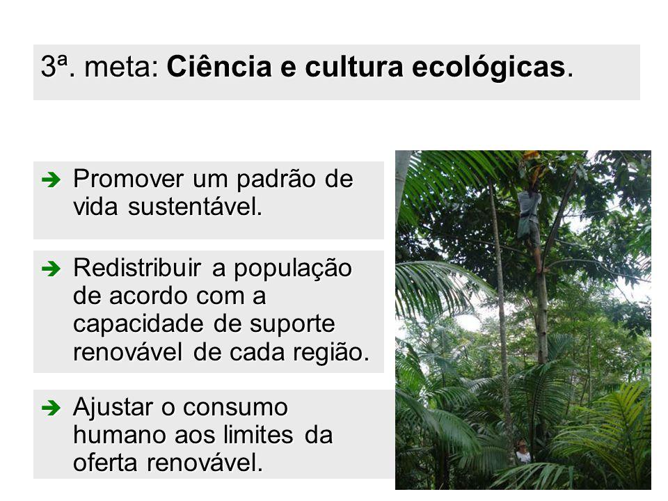 40 3ª. meta: Ciência e cultura ecológicas.  Promover um padrão de vida sustentável.  Redistribuir a população de acordo com a capacidade de suporte