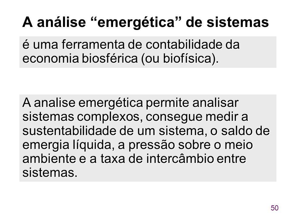 """50 A análise """"emergética"""" de sistemas é uma ferramenta de contabilidade da economia biosférica (ou biofísica). A analise emergética permite analisar s"""