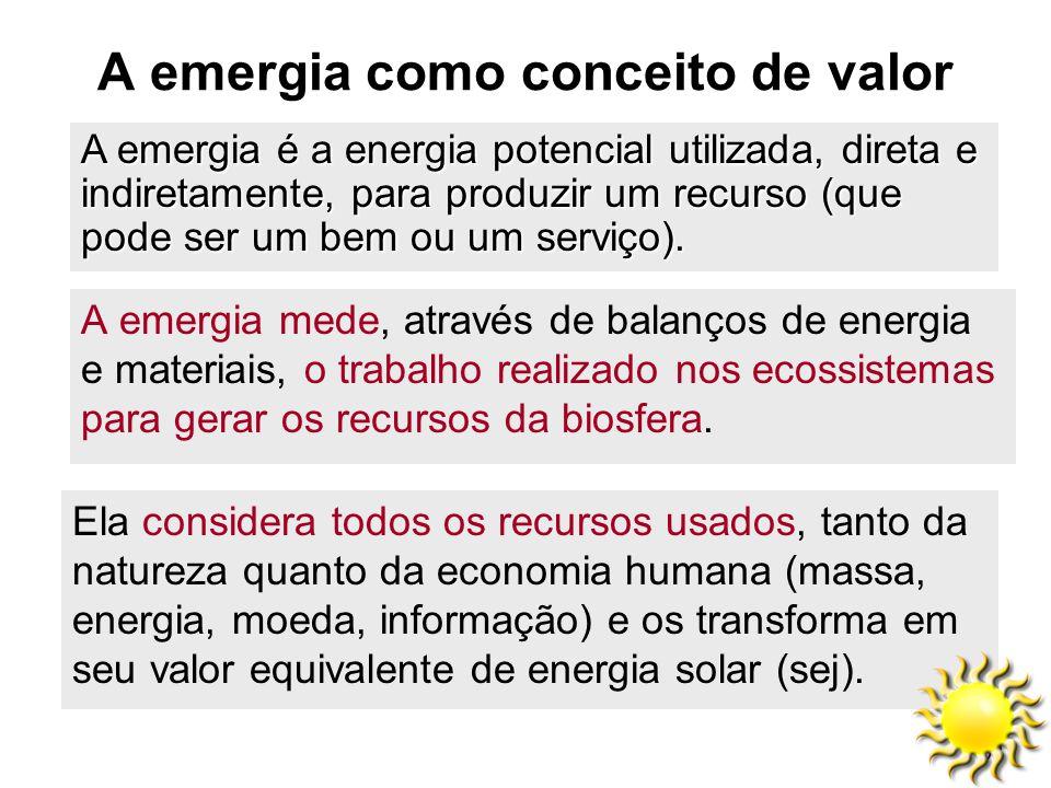 51 A emergia como conceito de valor Ela considera todos os recursos usados, tanto da natureza quanto da economia humana (massa, energia, moeda, inform