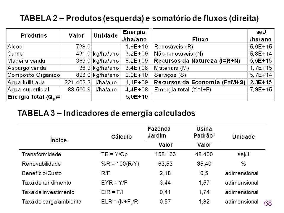 68 TABELA 2 – Produtos (esquerda) e somatório de fluxos (direita) TABELA 3 – Indicadores de emergia calculados Índice Cálculo Fazenda Jardim Usina Pad