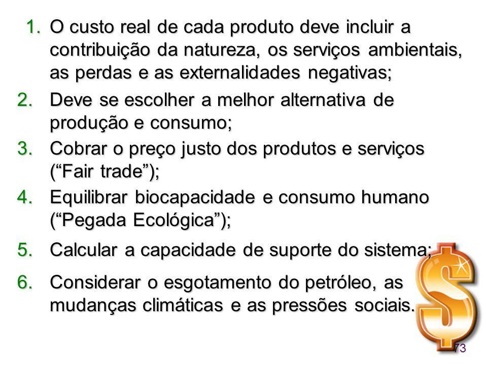 73 1.O custo real de cada produto deve incluir a contribuição da natureza, os serviços ambientais, as perdas e as externalidades negativas; 2.Deve se