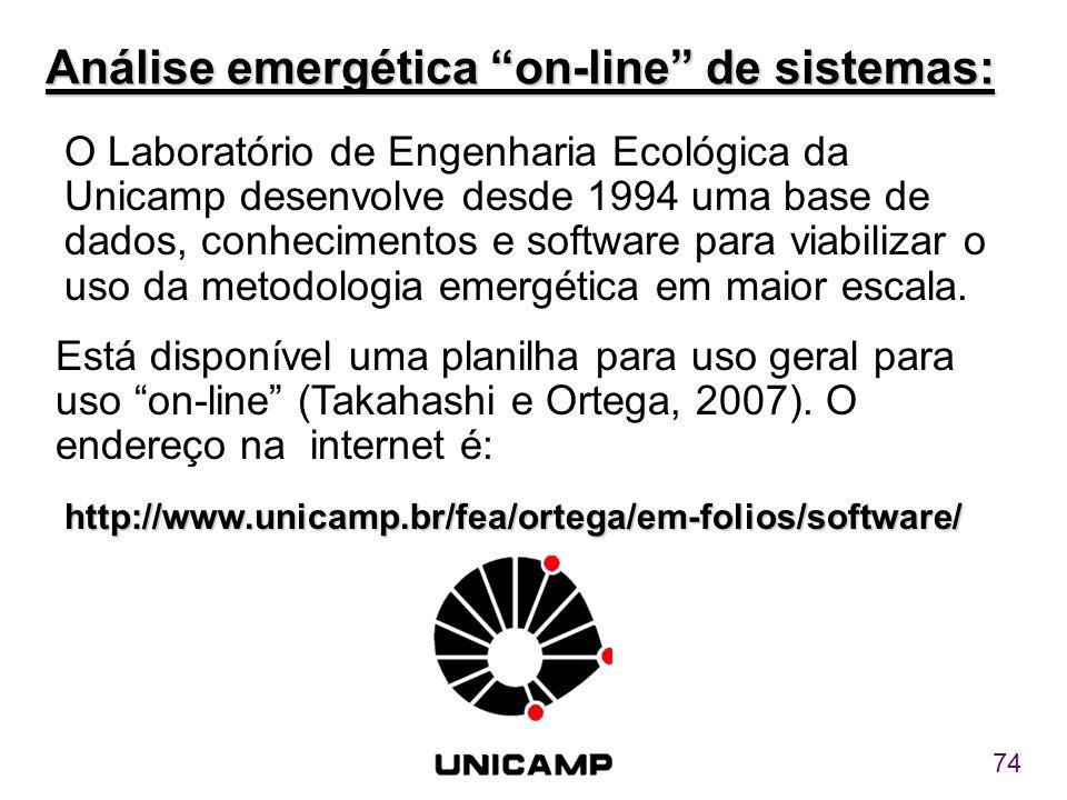 """74 Análise emergética """"on-line"""" de sistemas: O Laboratório de Engenharia Ecológica da Unicamp desenvolve desde 1994 uma base de dados, conhecimentos e"""