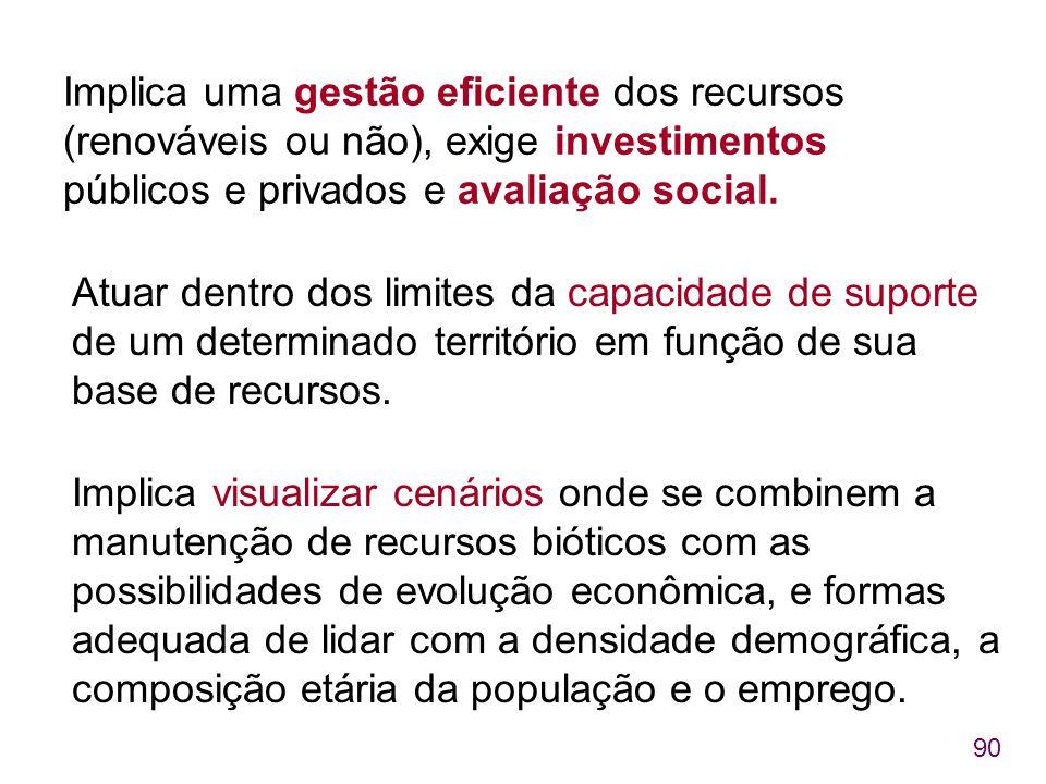 90 Implica uma gestão eficiente dos recursos (renováveis ou não), exige investimentos públicos e privados e avaliação social. Atuar dentro dos limites