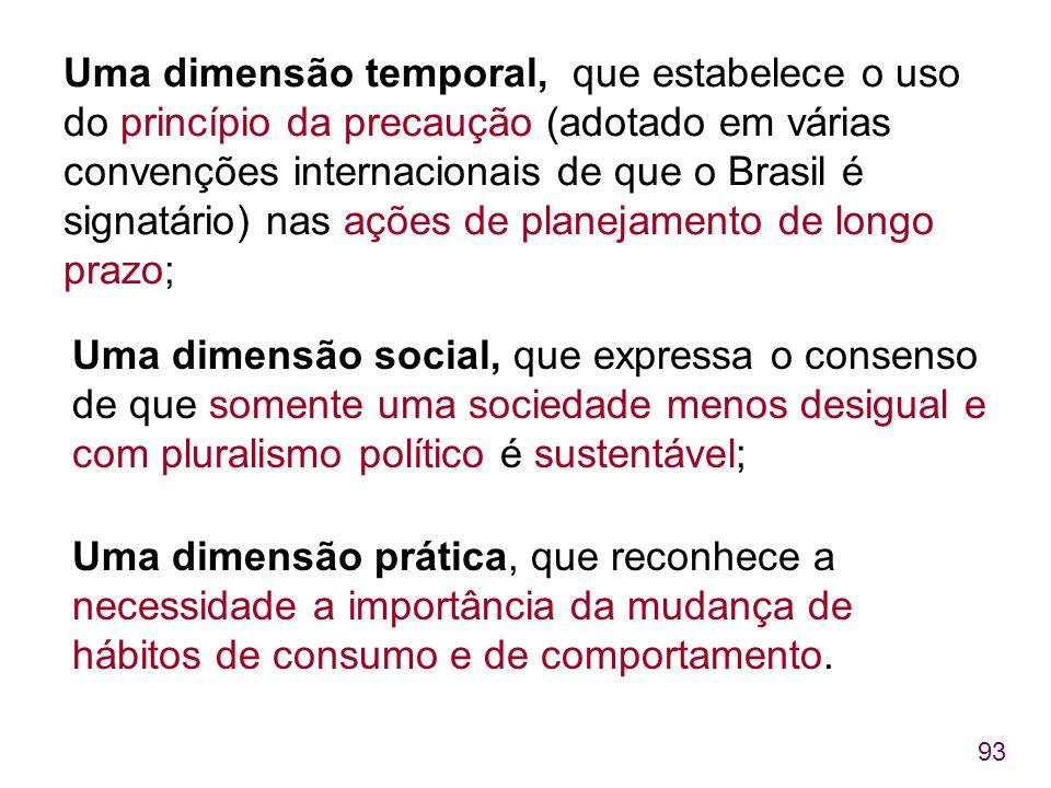93 Uma dimensão temporal, que estabelece o uso do princípio da precaução (adotado em várias convenções internacionais de que o Brasil é signatário) na