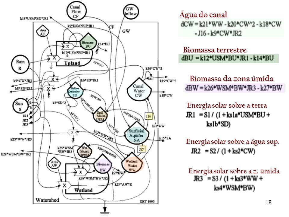 18 Biomassa terrestre Biomassa da zona úmida Água do canal Energia solar sobre a terra Energia solar sobre a água sup.