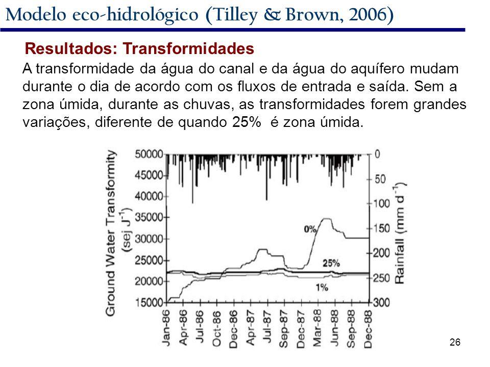 26 Modelo eco-hidrológico (Tilley & Brown, 2006) A transformidade da água do canal e da água do aquífero mudam durante o dia de acordo com os fluxos de entrada e saída.