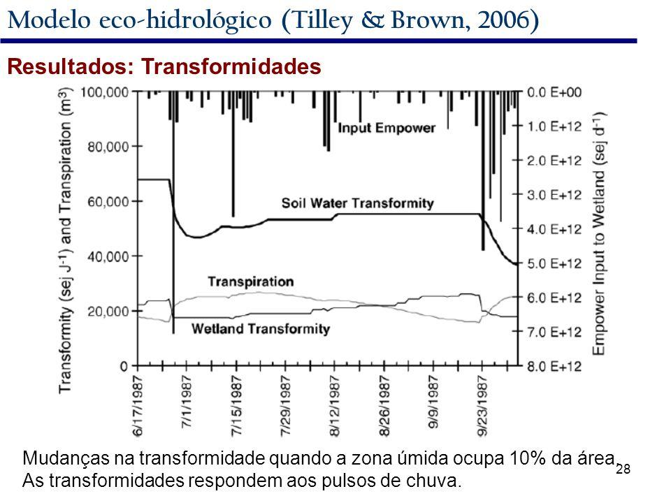 28 Modelo eco-hidrológico (Tilley & Brown, 2006) Resultados: Transformidades Mudanças na transformidade quando a zona úmida ocupa 10% da área.