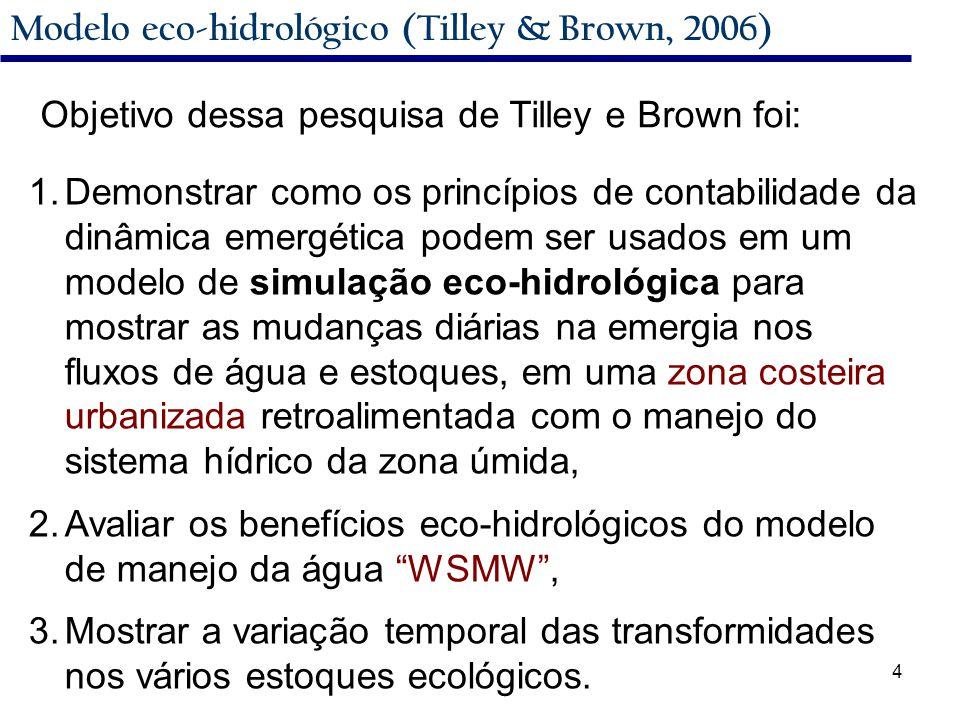 4 Modelo eco-hidrológico (Tilley & Brown, 2006) Objetivo dessa pesquisa de Tilley e Brown foi: 1.Demonstrar como os princípios de contabilidade da dinâmica emergética podem ser usados em um modelo de simulação eco-hidrológica para mostrar as mudanças diárias na emergia nos fluxos de água e estoques, em uma zona costeira urbanizada retroalimentada com o manejo do sistema hídrico da zona úmida, 2.Avaliar os benefícios eco-hidrológicos do modelo de manejo da água WSMW , 3.Mostrar a variação temporal das transformidades nos vários estoques ecológicos.