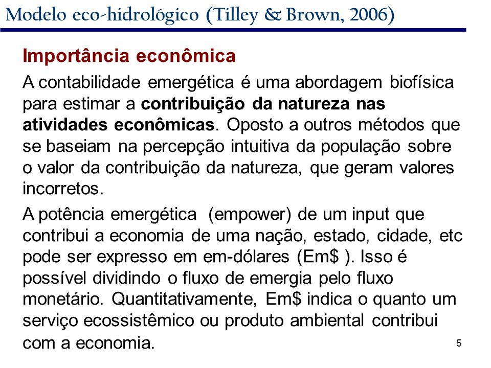 5 Modelo eco-hidrológico (Tilley & Brown, 2006) Importância econômica A contabilidade emergética é uma abordagem biofísica para estimar a contribuição da natureza nas atividades econômicas.