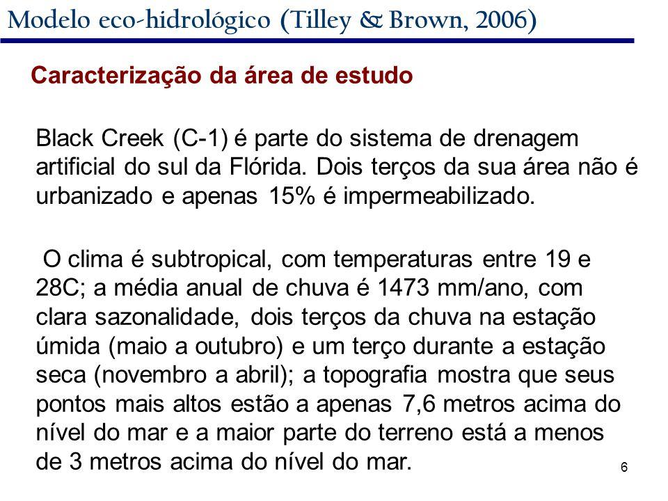 6 Modelo eco-hidrológico (Tilley & Brown, 2006) Caracterização da área de estudo O clima é subtropical, com temperaturas entre 19 e 28C; a média anual de chuva é 1473 mm/ano, com clara sazonalidade, dois terços da chuva na estação úmida (maio a outubro) e um terço durante a estação seca (novembro a abril); a topografia mostra que seus pontos mais altos estão a apenas 7,6 metros acima do nível do mar e a maior parte do terreno está a menos de 3 metros acima do nível do mar.