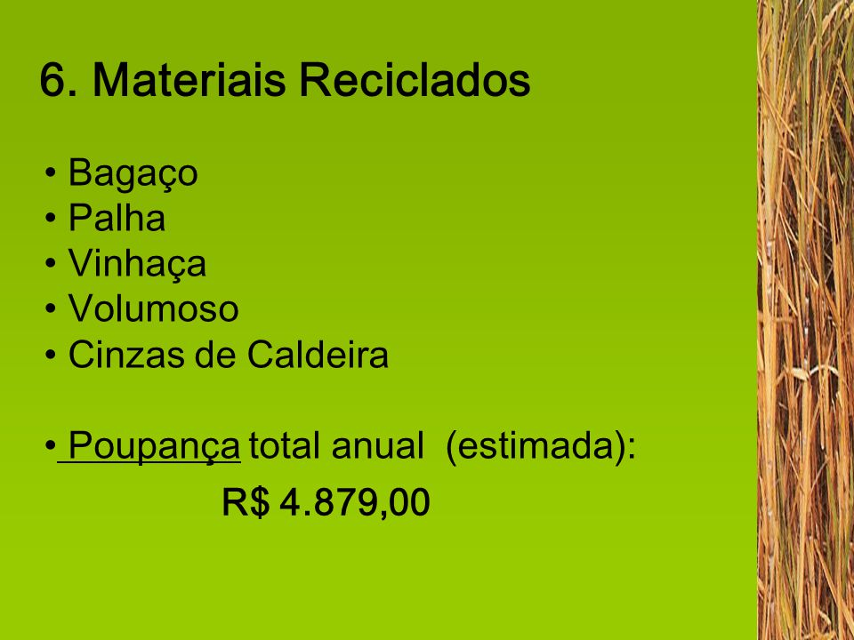 6. Materiais Reciclados Bagaço Palha Vinhaça Volumoso Cinzas de Caldeira Poupança total anual (estimada): R$ 4.879,00