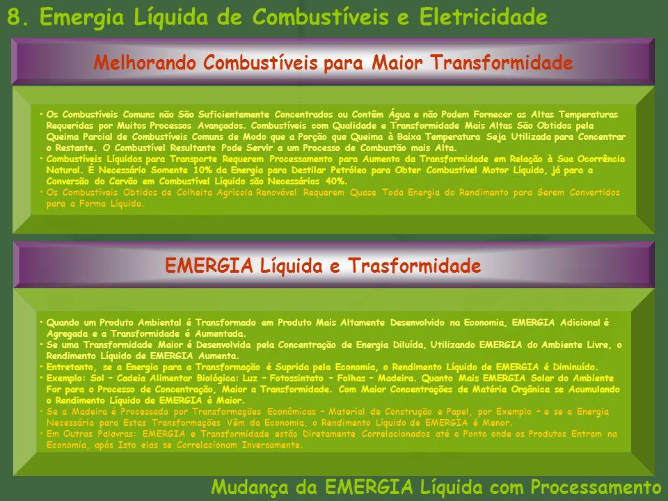 8. Emergia Líquida de Combustíveis e Eletricidade Mudança da EMERGIA Líquida com Processamento Melhorando Combustíveis para Maior Transformidade EMERG