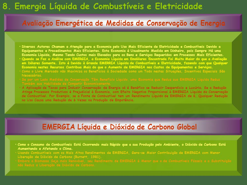 8. Emergia Líquida de Combustíveis e Eletricidade Avaliação Emergética de Medidas de Conservação de Energia EMERGIA Líquida e Dióxido de Carbono Globa