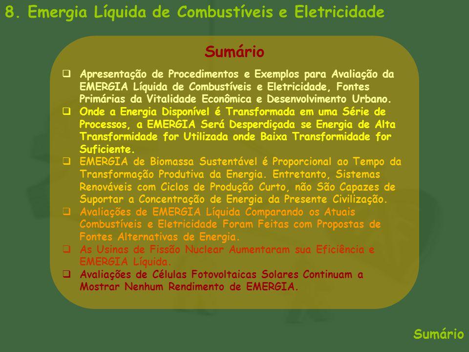 Sumário 8. Emergia Líquida de Combustíveis e Eletricidade  Apresentação de Procedimentos e Exemplos para Avaliação da EMERGIA Líquida de Combustíveis